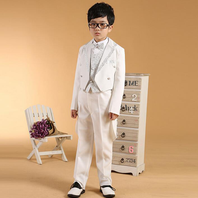 2016 white sequins Tailcoat boys wedding suits Prince baby boy ...