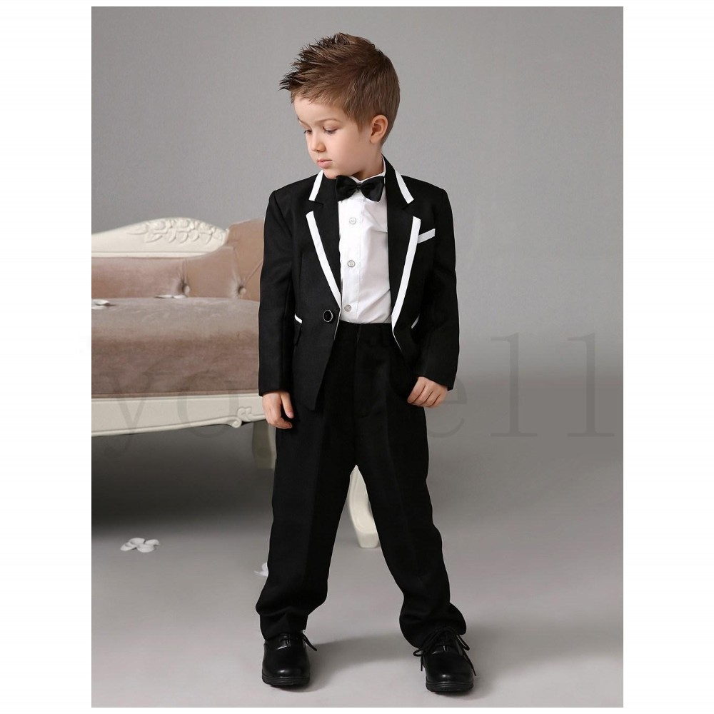 High Quality Western Style Luxurious Black Ring Bearer Suits Boys